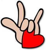 ASL I love you sign holding a red heart