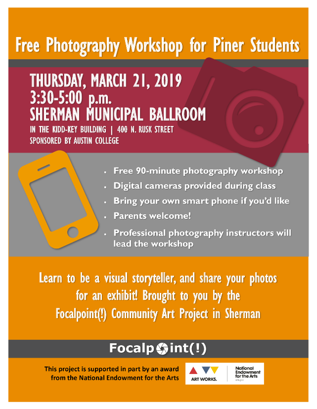 Free Photography Workshop for Piner Students