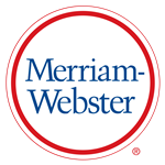 Merriam-Webster dictionary logo Merriam Webster written in blue within a red circle