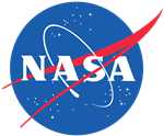 NASA logo NASA written on a circle of blue
