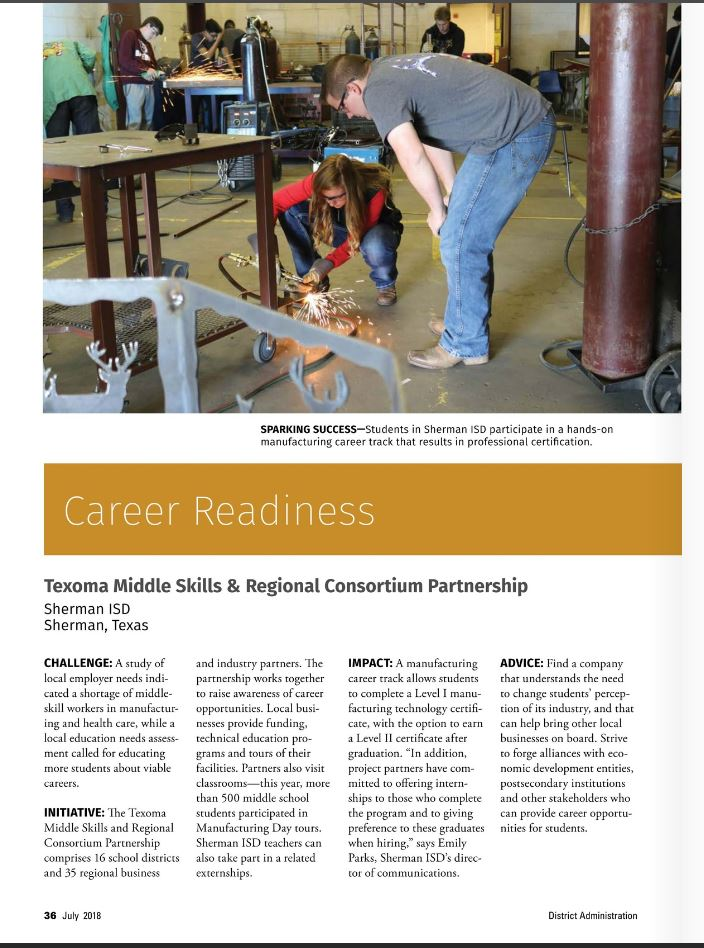 Career and Technical Education Program and Partnerships Highlighted in National Magazine