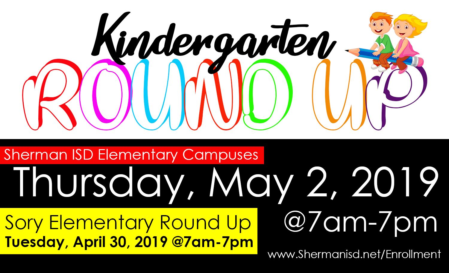 Sherman ISD Kindergarten Enrollment Now Open, Round-Up Set for May 2